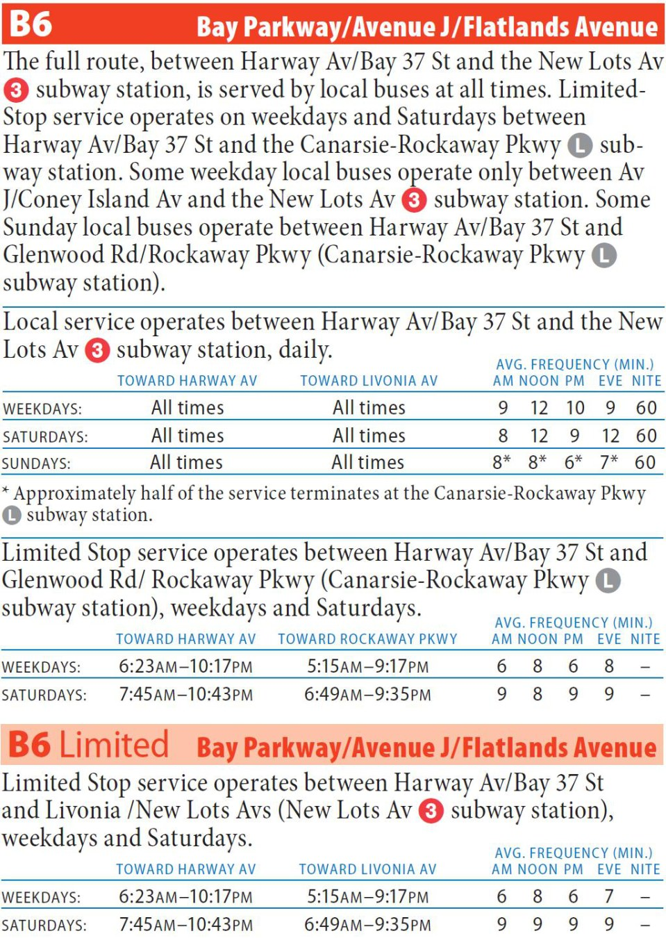 b6 bus - bay parkway/avenue j/flatlands av
